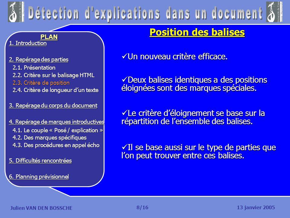 Julien VAN DEN BOSSCHE PLAN 13 janvier 2005 1. Introduction 2. Repérage des parties 2.1. Présentation 2.1. Présentation 2.2. Critère sur le balisage H