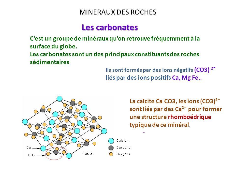 MINERAUX DES ROCHES Les carbonates Cest un groupe de minéraux quon retrouve fréquemment à la surface du globe. Les carbonates sont un des principaux c