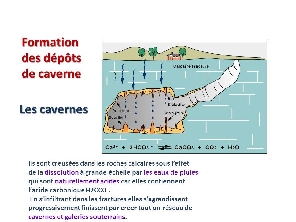 Formation des dépôts de caverne Ils sont creusées dans les roches calcaires sous leffet de la dissolution à grande échelle par les eaux de pluies qui