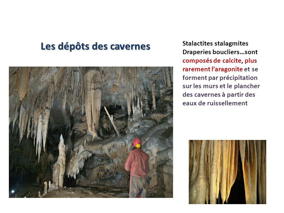 Stalactites stalagmites Draperies boucliers…sont composés de calcite, plus rarement laragonite et se forment par précipitation sur les murs et le plan