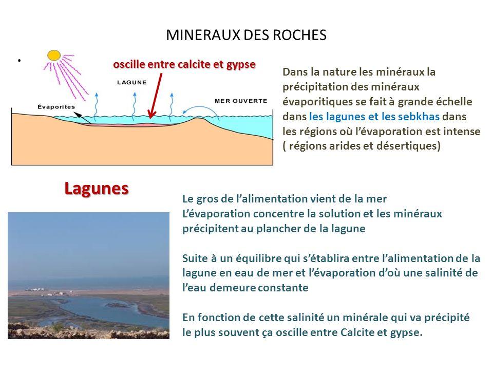 MINERAUX DES ROCHES. Dans la nature les minéraux la précipitation des minéraux évaporitiques se fait à grande échelle dans les lagunes et les sebkhas