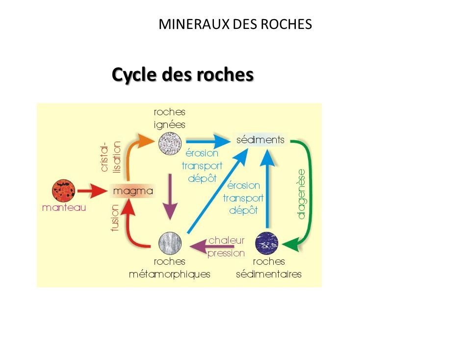 MINERAUX DES ROCHES Cycle des roches