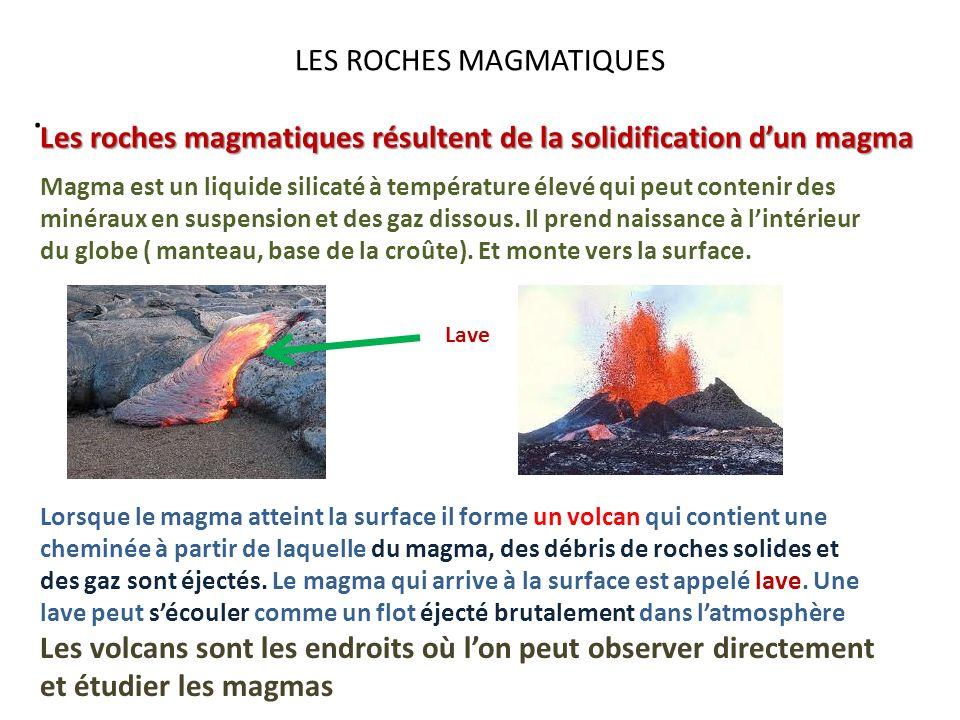 LES ROCHES MAGMATIQUES. Les roches magmatiques résultent de la solidification dun magma Magma est un liquide silicaté à température élevé qui peut con