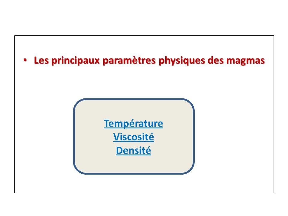 Les principaux paramètres physiques des magmas Les principaux paramètres physiques des magmas Température Viscosité Densité