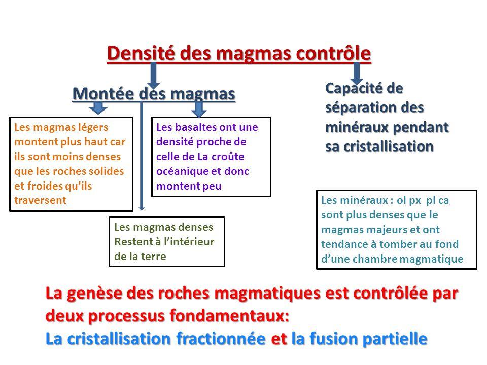 Les magmas légers montent plus haut car ils sont moins denses que les roches solides et froides quils traversent Les basaltes ont une densité proche d