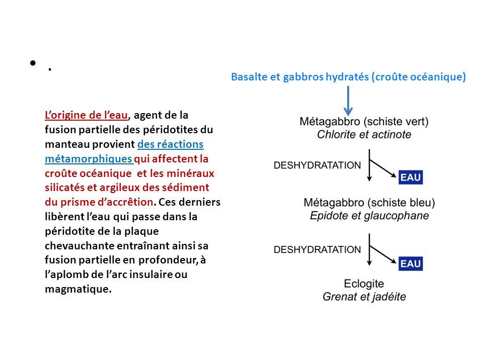 . Lorigine de leau, agent de la fusion partielle des péridotites du manteau provient des réactions métamorphiques qui affectent la croûte océanique et