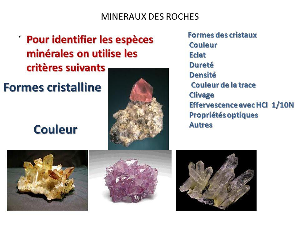 MINERAUX DES ROCHES. Pour identifier les espèces minérales on utilise les critères suivants Formes des cristaux Couleur Couleur Eclat Eclat Dureté Dur