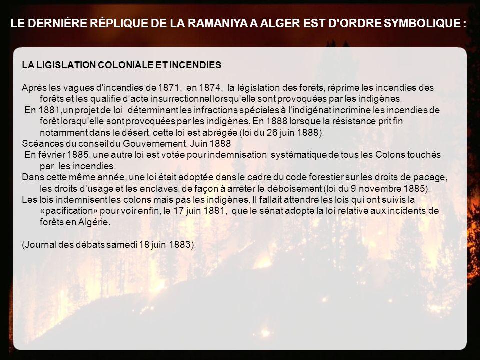 LE DERNIÈRE RÉPLIQUE DE LA RAMANIYA A ALGER EST D'ORDRE SYMBOLIQUE : LA LIGISLATION COLONIALE ET INCENDIES Après les vagues d'incendies de 1871, en 18