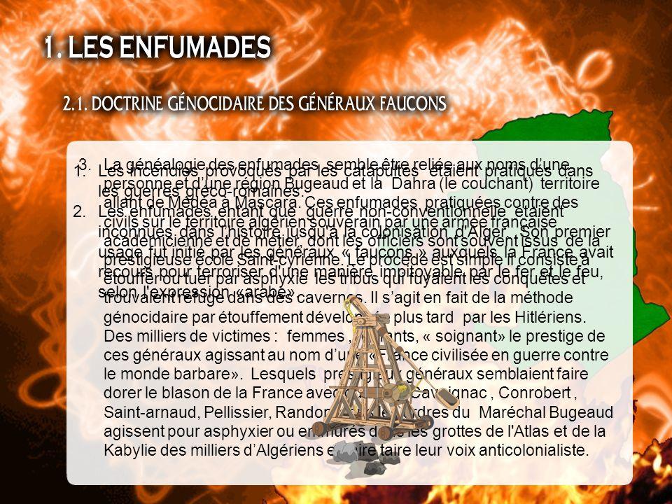1.Les incendies provoqués par les catapultes étaient pratiqués dans les guerres gréco-romaines. 2.Les enfumades entant que guerre non-conventionnelle