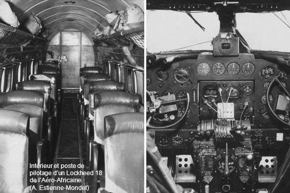 Intérieur et poste de pilotage dun Lockheed 18 de lAéro-Africaine (A. Estienne-Mondet)
