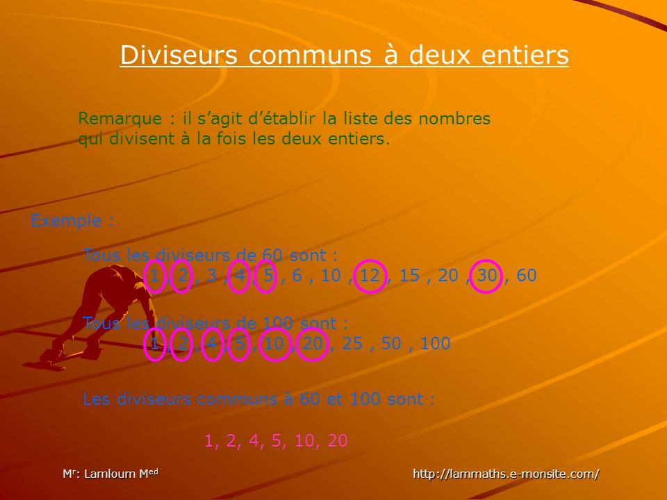 Diviseurs communs à deux entiers Remarque : il sagit détablir la liste des nombres qui divisent à la fois les deux entiers.