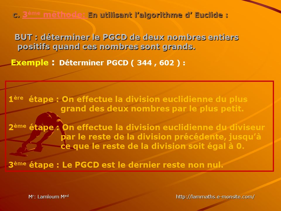840 Les diviseurs premiers 2 420 2 210 2 105 3 35 5 77 1 2772 2 1386 2 693 3 231 3 77 7 11 1 840 = 2 3 x 3 x 5 x 7 2772 = 2 2 x 3 2 x 7 x 11 et PGCD ( 840, 2772 ) = 2 2 x 3 x 7 = 84