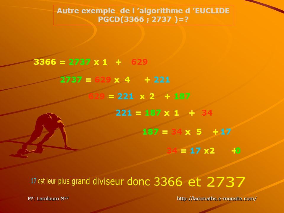 3366 = 2737 x + 1 629 2737 = 629 x +4221 629 = 221 x +2187 221 = 187 x +134 187 = 34 x +517 34 = 17 x +02 Autre exemple de l algorithme d EUCLIDE PGCD(3366 ; 2737 )=.