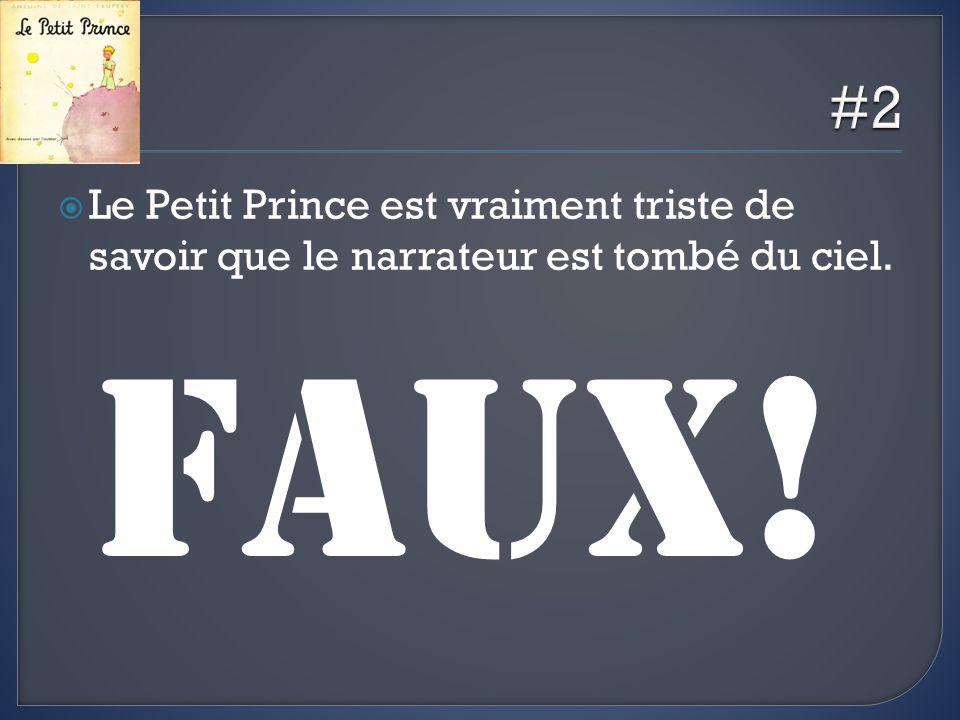 Le Petit Prince est vraiment triste de savoir que le narrateur est tombé du ciel. FAUX!