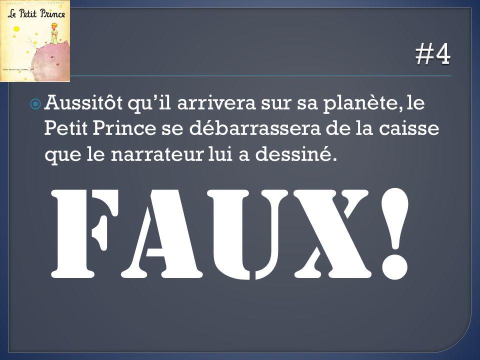 Aussitôt quil arrivera sur sa planète, le Petit Prince se débarrassera de la caisse que le narrateur lui a dessiné.