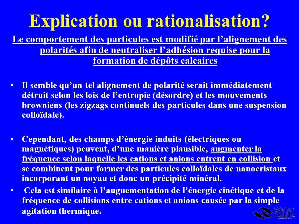 Explication ou rationalisation? Le comportement des particules est modifié par lalignement des polarités afin de neutraliser ladhésion requise pour la