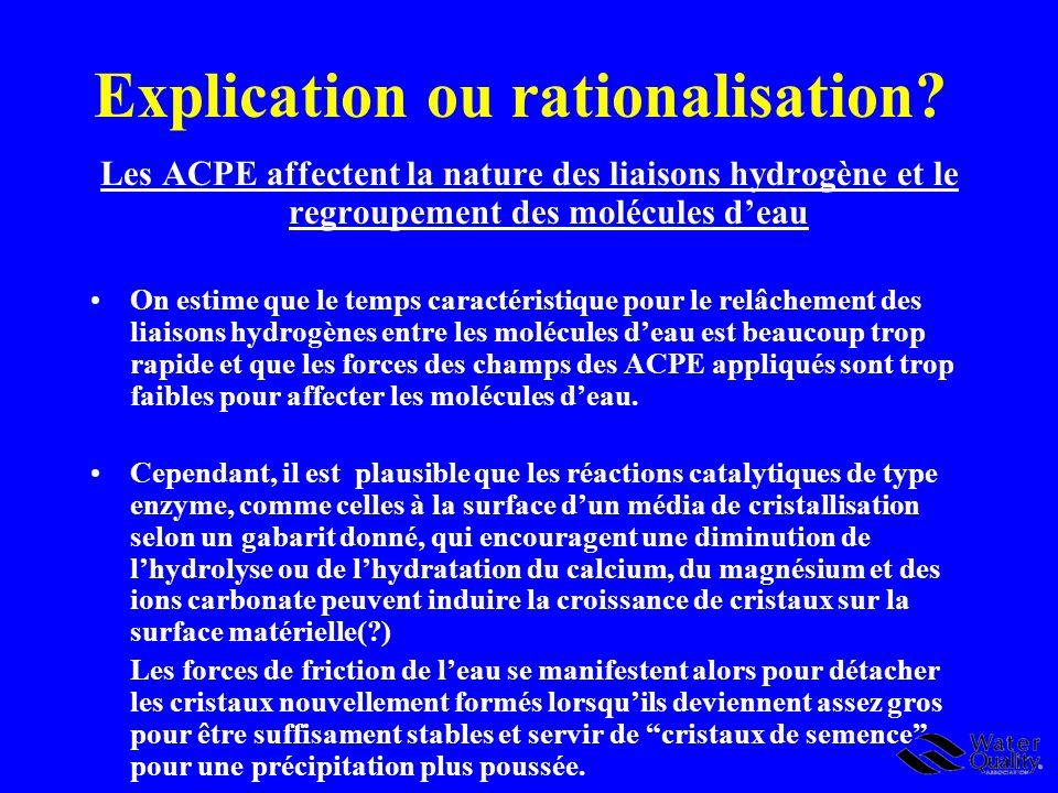 Explication ou rationalisation? Les ACPE affectent la nature des liaisons hydrogène et le regroupement des molécules deau On estime que le temps carac