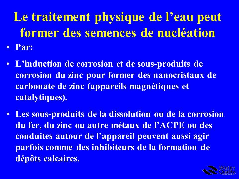 Le traitement physique de leau peut former des semences de nucléation Par: Linduction de corrosion et de sous-produits de corrosion du zinc pour forme