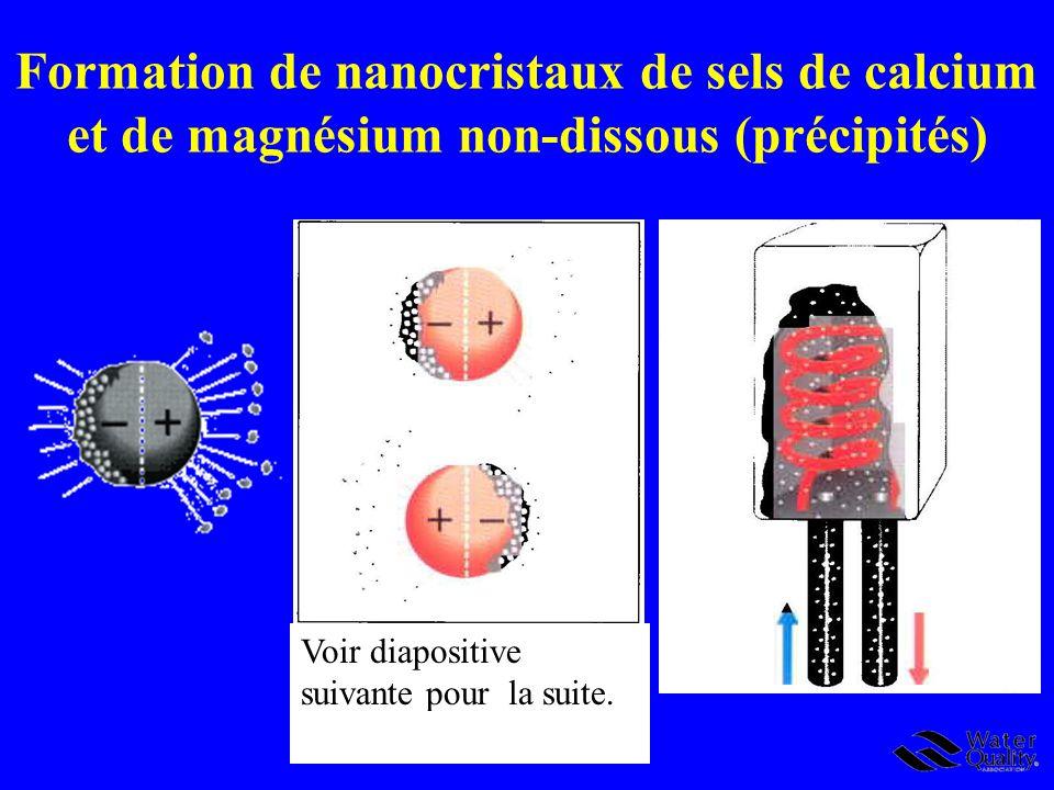 Formation de nanocristaux de sels de calcium et de magnésium non-dissous (précipités) Voir diapositive suivante pour la suite.