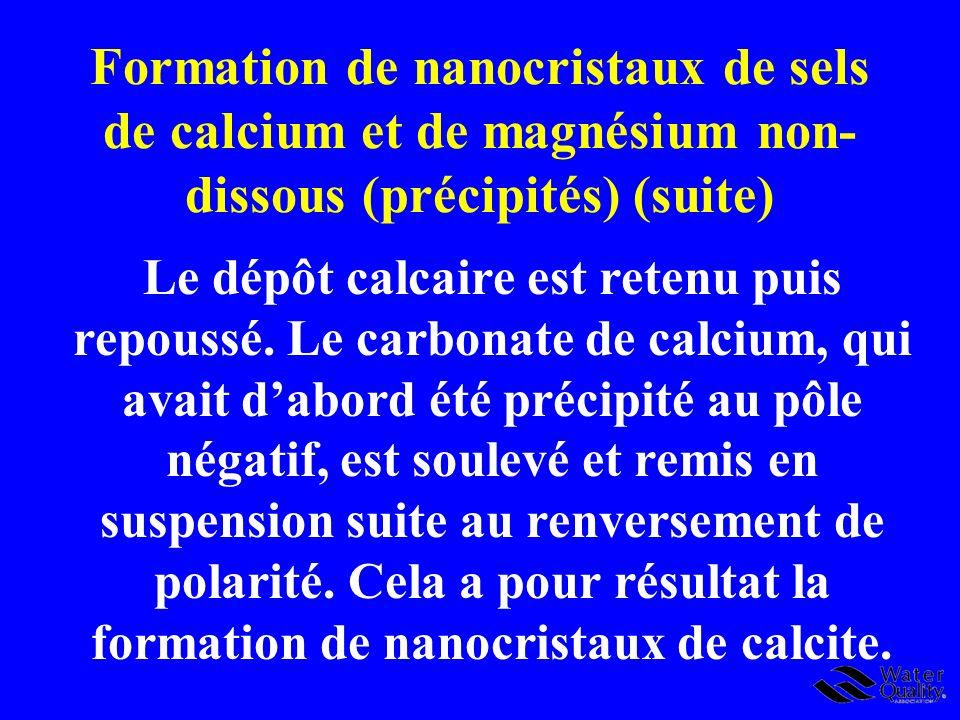 Formation de nanocristaux de sels de calcium et de magnésium non- dissous (précipités) (suite) Le dépôt calcaire est retenu puis repoussé. Le carbonat