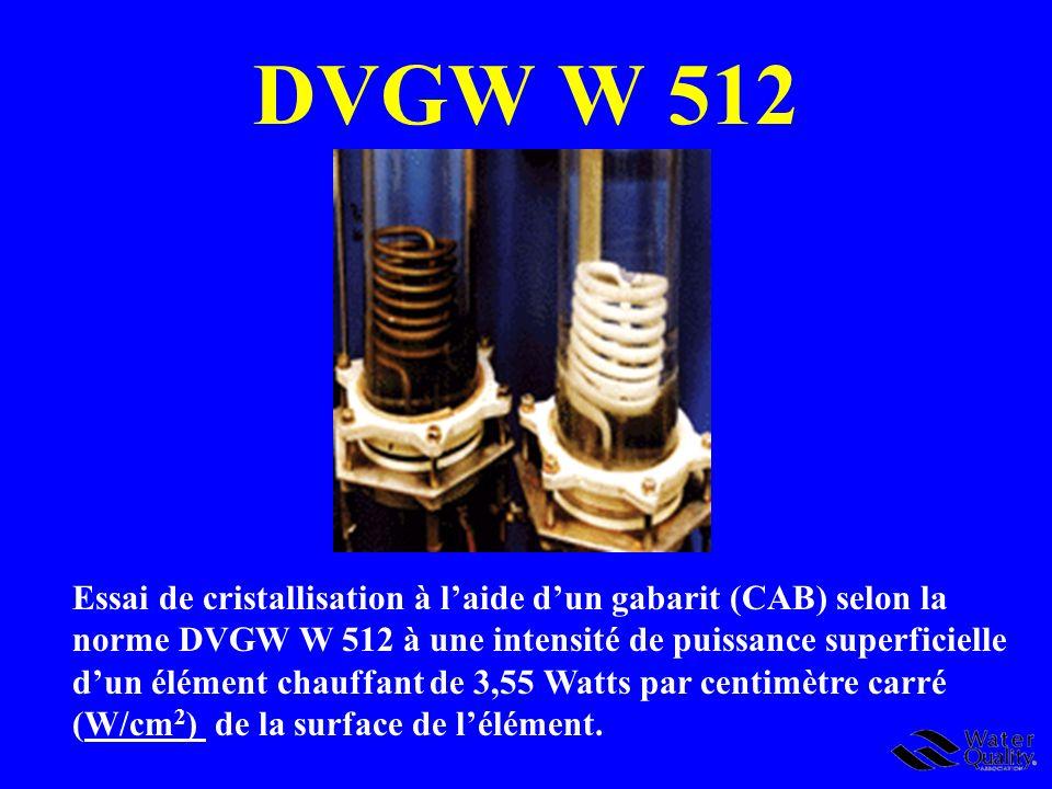 DVGW W 512 Essai de cristallisation à laide dun gabarit (CAB) selon la norme DVGW W 512 à une intensité de puissance superficielle dun élément chauffa