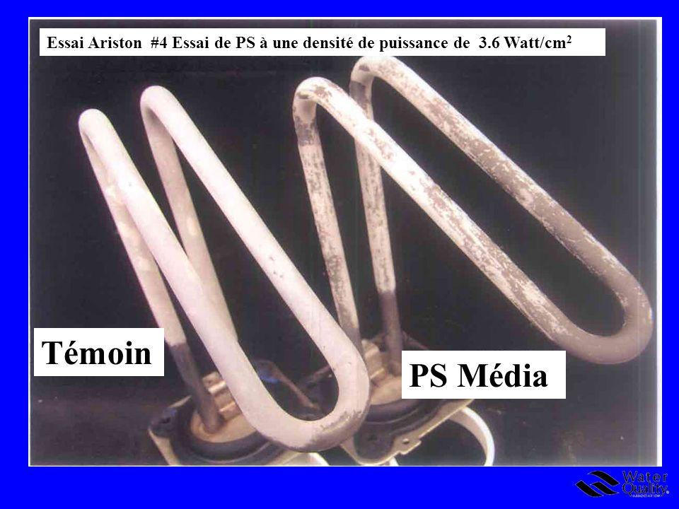 Essai Ariston #4 Essai de PS à une densité de puissance de 3.6 Watt/cm 2 Témoin PS Média