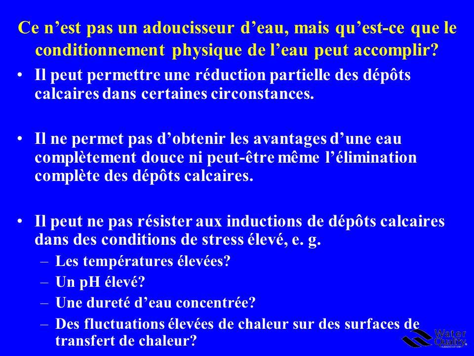 Conclusions 2 Certains ACPE peuvent réaliser une certaine réduction ou une réduction parteille des dépôts calcaires dans certaines conditions particulières.