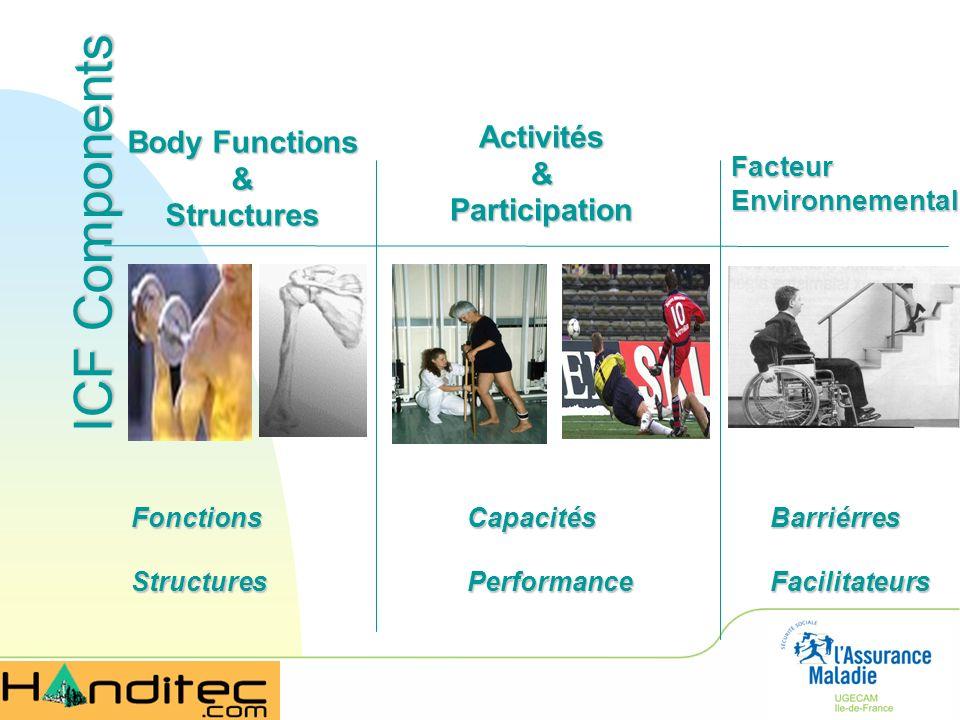 ICF Components Body Functions &Structures Activités&Participation FonctionsStructuresCapacitésPerformance FacteurEnvironnemental BarriérresFacilitateu