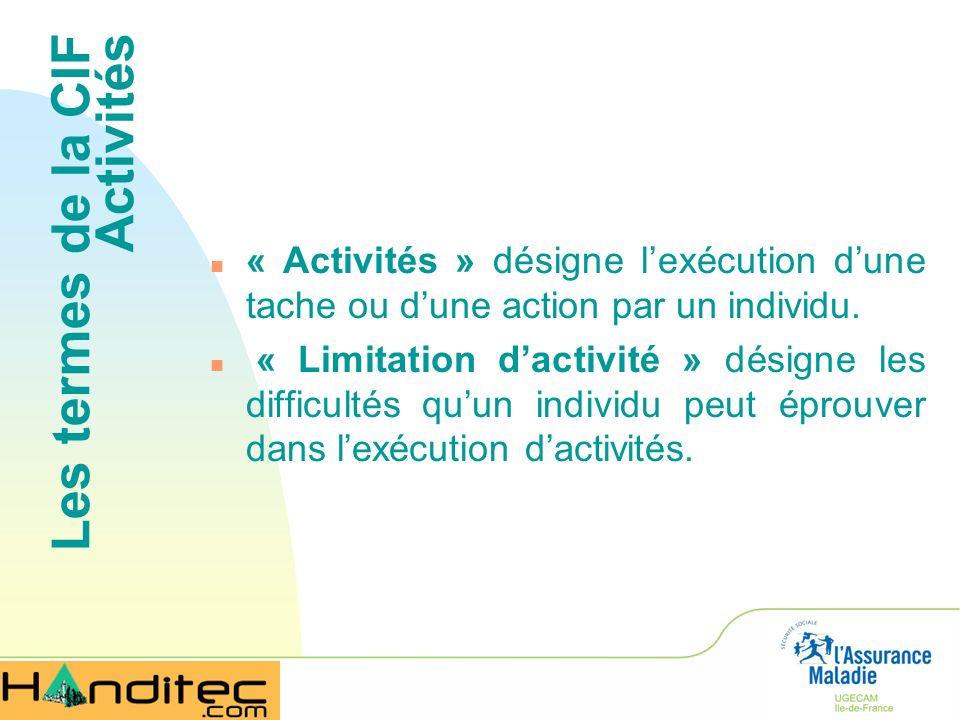 Les termes de la CIF Activités n « Activités » désigne lexécution dune tache ou dune action par un individu. n « Limitation dactivité » désigne les di