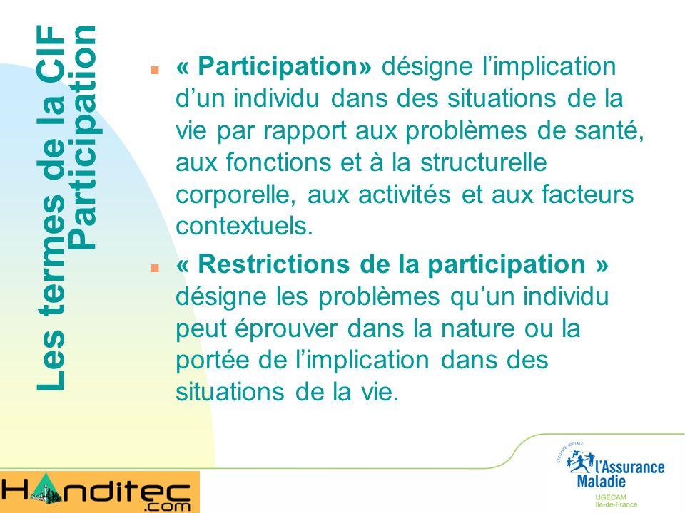 Les termes de la CIF Participation n « Participation» désigne limplication dun individu dans des situations de la vie par rapport aux problèmes de san