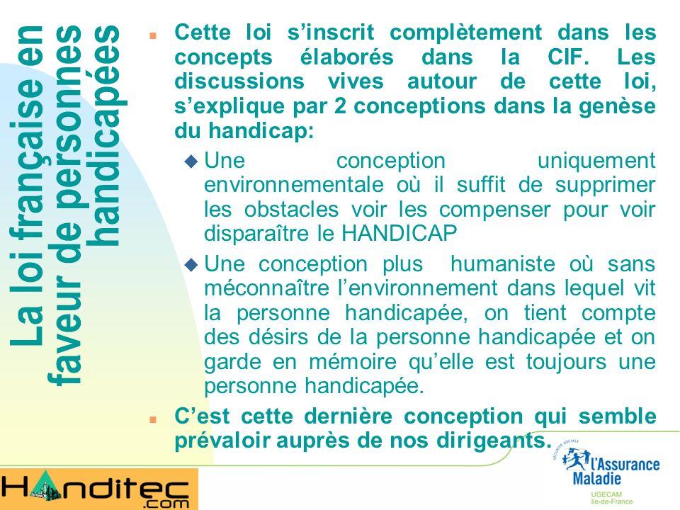 La loi française en faveur de personnes handicapées n Cette loi sinscrit complètement dans les concepts élaborés dans la CIF. Les discussions vives au