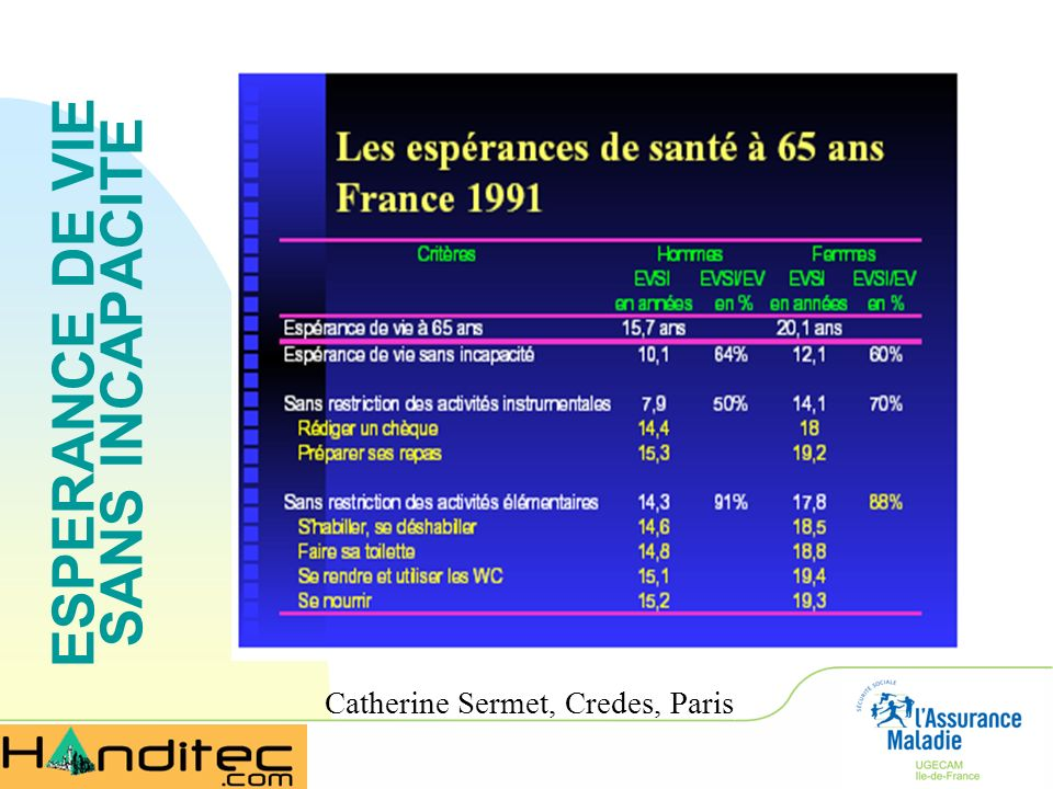 ESPERANCE DE VIE SANS INCAPACITE Catherine Sermet, Credes, Paris)