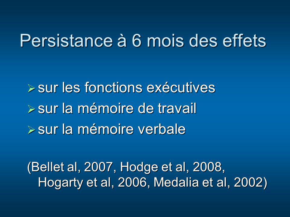 Persistance à 6 mois des effets sur les fonctions exécutives sur les fonctions exécutives sur la mémoire de travail sur la mémoire de travail sur la m