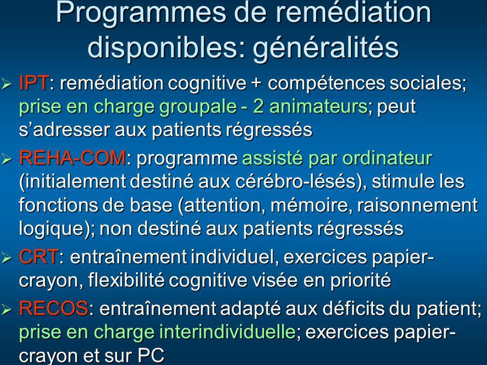 IPT: remédiation cognitive + compétences sociales; prise en charge groupale - 2 animateurs; peut sadresser aux patients régressés IPT: remédiation cog