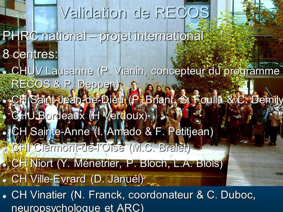 Validation de RECOS PHRC national – projet international PHRC national – projet international 8 centres: 8 centres: CHUV Lausanne (P. Vianin, concepte