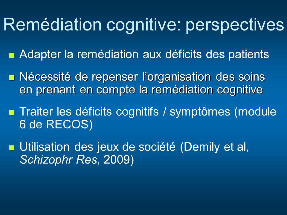 Remédiation cognitive: perspectives Adapter la remédiation aux déficits des patients Nécessité de repenser lorganisation des soins en prenant en compt