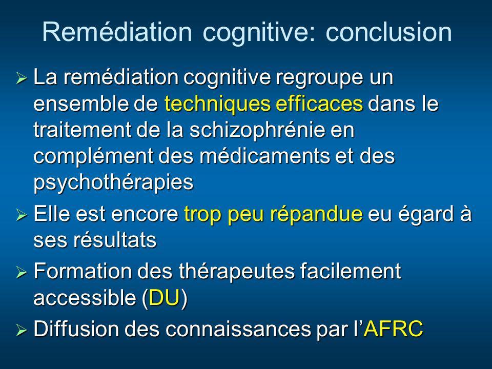 Remédiation cognitive: conclusion La remédiation cognitive regroupe un ensemble de techniques efficaces dans le traitement de la schizophrénie en comp