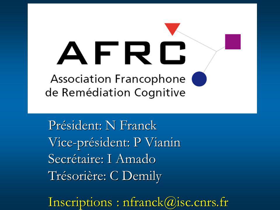 Président: N Franck Vice-président: P Vianin Secrétaire: I Amado Trésorière: C Demily Inscriptions : nfranck@isc.cnrs.fr
