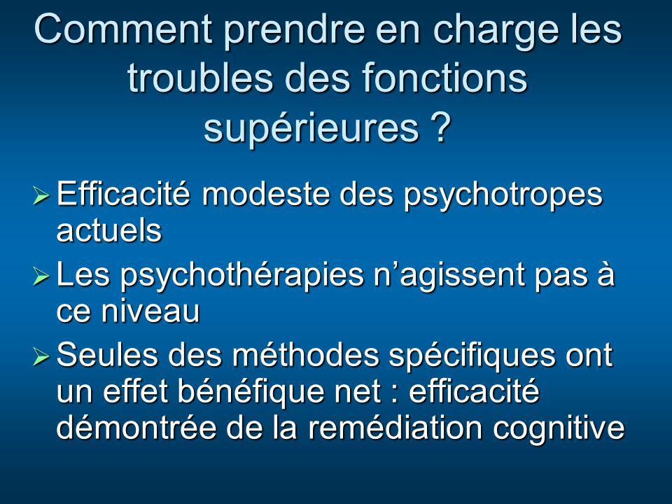 Comment prendre en charge les troubles des fonctions supérieures ? Efficacité modeste des psychotropes actuels Efficacité modeste des psychotropes act