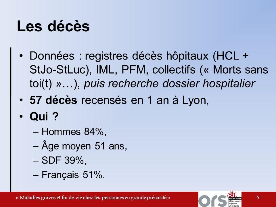 Les décès Données : registres décès hôpitaux (HCL + StJo-StLuc), IML, PFM, collectifs (« Morts sans toi(t) »…), puis recherche dossier hospitalier 57 décès recensés en 1 an à Lyon, Qui .