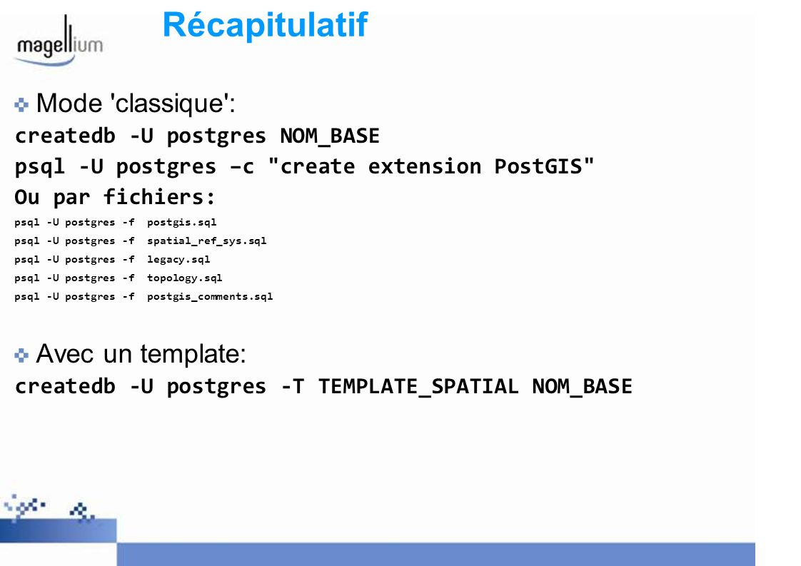Récapitulatif Mode classique : createdb -U postgres NOM_BASE psql -U postgres –c create extension PostGIS Ou par fichiers: psql -U postgres -f postgis.sql psql -U postgres -f spatial_ref_sys.sql psql -U postgres -f legacy.sql psql -U postgres -f topology.sql psql -U postgres -f postgis_comments.sql Avec un template: createdb -U postgres -T TEMPLATE_SPATIAL NOM_BASE