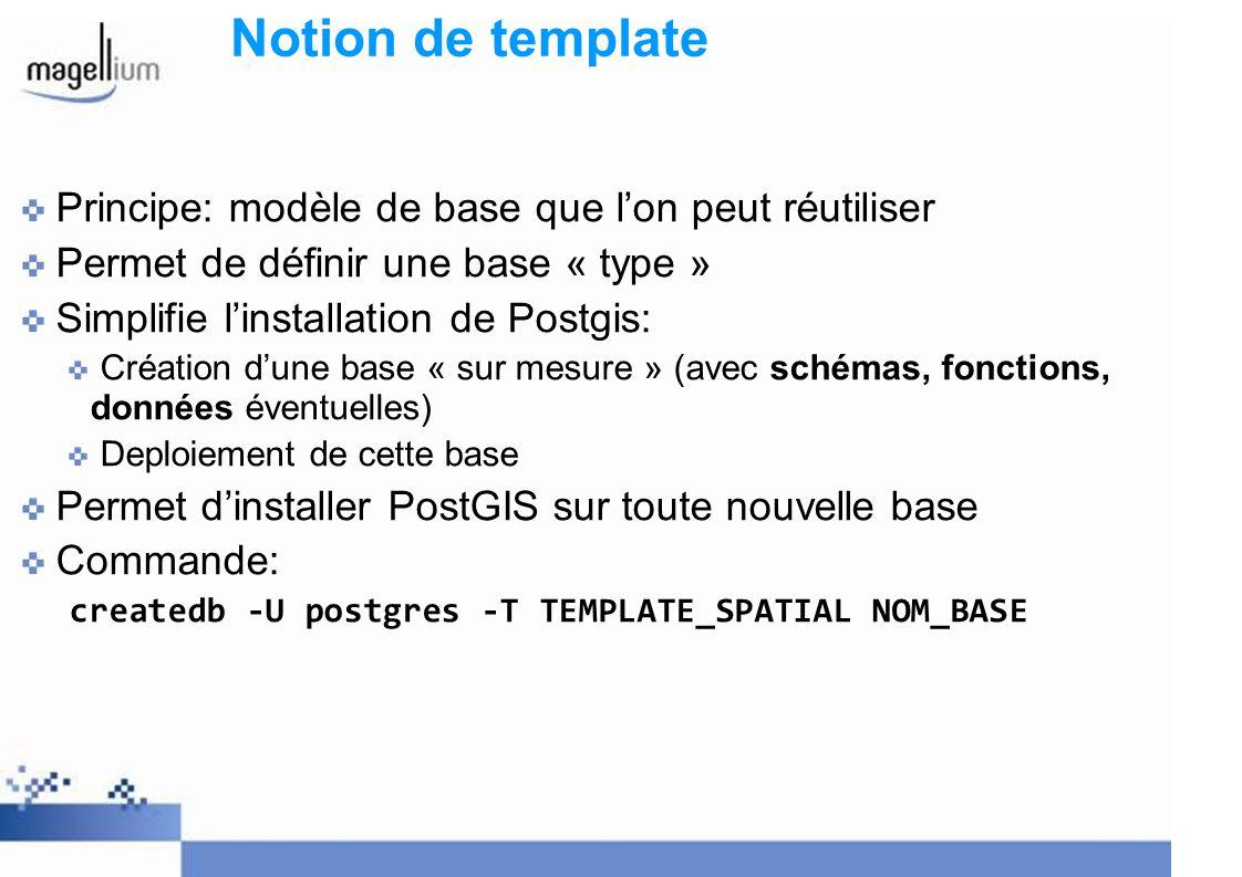 Notion de template Principe: modèle de base que lon peut réutiliser Permet de définir une base « type » Simplifie linstallation de Postgis: Création dune base « sur mesure » (avec schémas, fonctions, données éventuelles) Deploiement de cette base Permet dinstaller PostGIS sur toute nouvelle base Commande: createdb -U postgres -T TEMPLATE_SPATIAL NOM_BASE