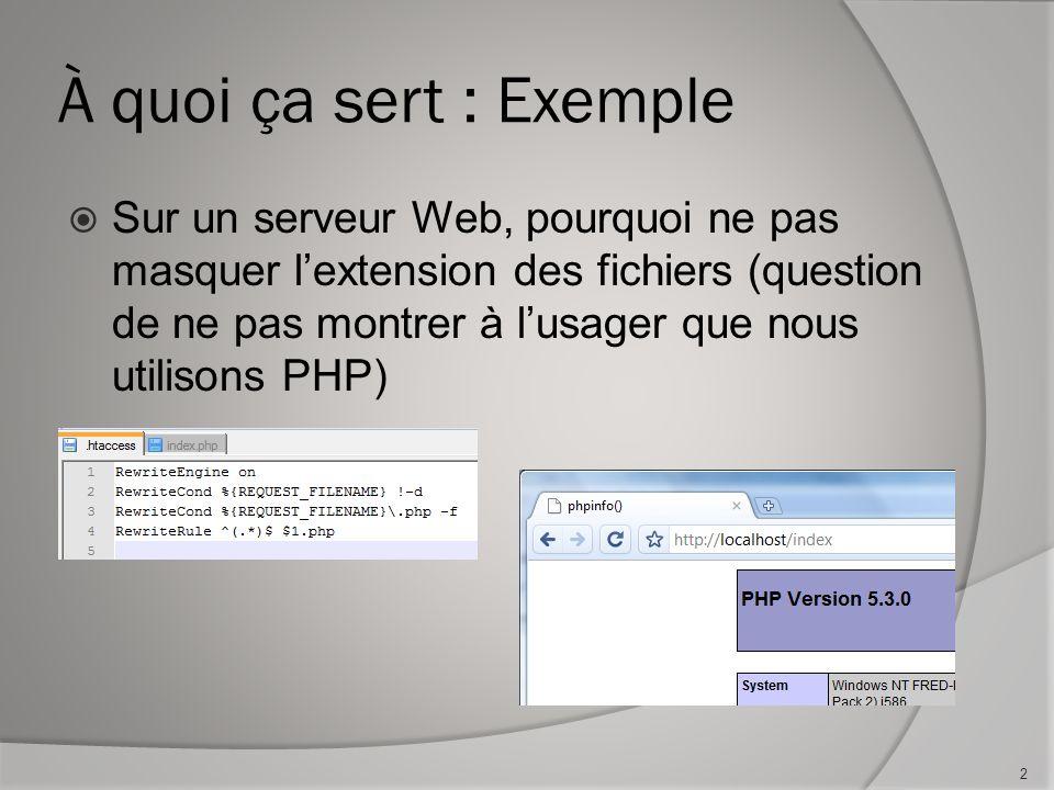 À quoi ça sert : Exemple Sur un serveur Web, pourquoi ne pas masquer lextension des fichiers (question de ne pas montrer à lusager que nous utilisons PHP) 2