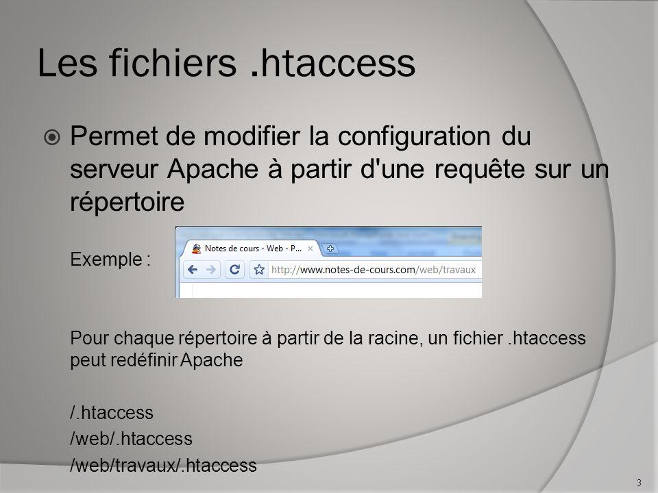 Les fichiers.htaccess Permet de modifier la configuration du serveur Apache à partir d une requête sur un répertoire Exemple : Pour chaque répertoire à partir de la racine, un fichier.htaccess peut redéfinir Apache /.htaccess /web/.htaccess /web/travaux/.htaccess 3