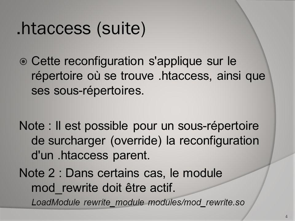 .htaccess (suite) Cette reconfiguration s applique sur le répertoire où se trouve.htaccess, ainsi que ses sous-répertoires.