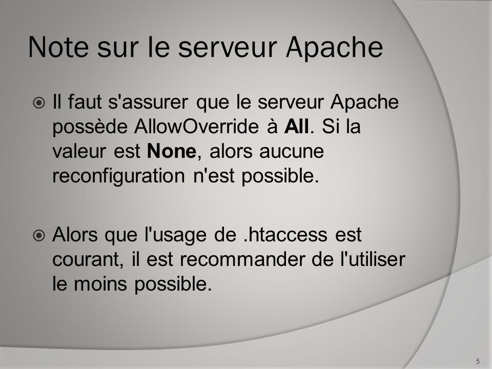 Note sur le serveur Apache Il faut s assurer que le serveur Apache possède AllowOverride à All.