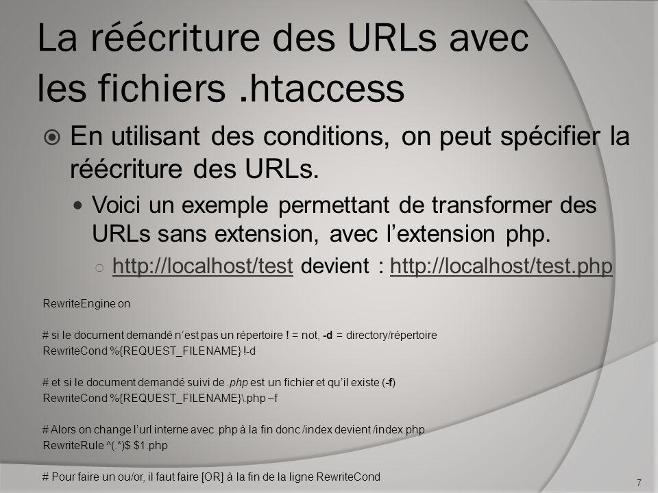La réécriture des URLs avec les fichiers.htaccess En utilisant des conditions, on peut spécifier la réécriture des URLs.