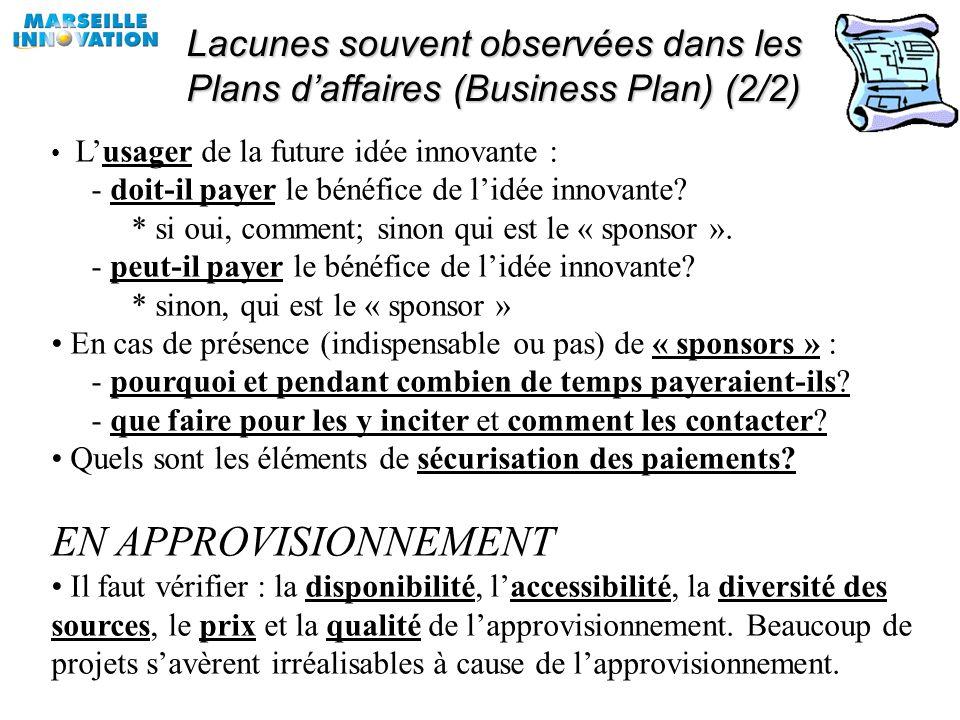 Lacunes souvent observées dans les Plans daffaires (Business Plan) (1/2) EN REVENUS Pourquoi quelquun achèterait-il le fruit de lidée innovante? Qui v