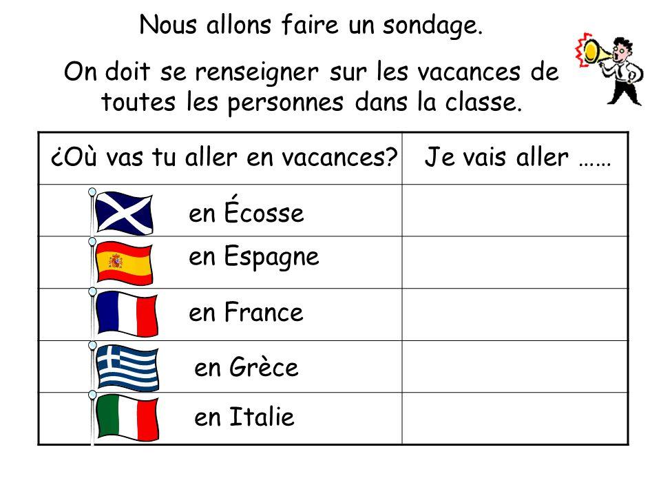 en Écosse en Espagne en France en Grèce en Italie ¿Où vas tu aller en vacances Je vais aller …… Nous allons faire un sondage.