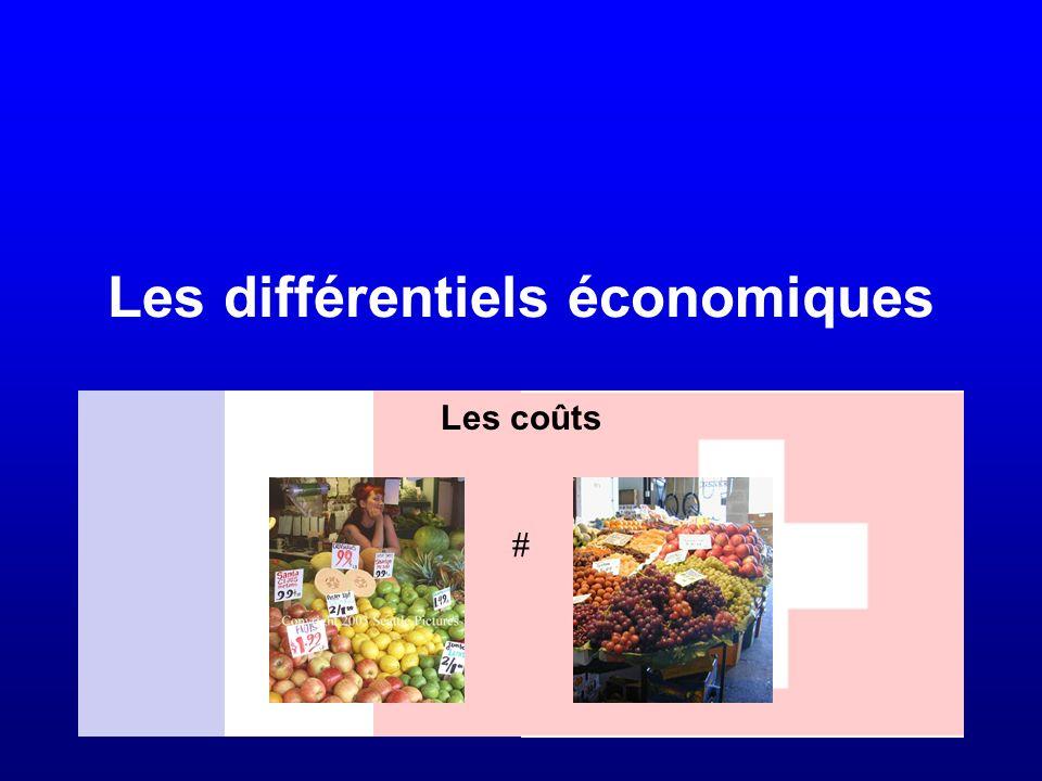 Les différentiels économiques Les coûts